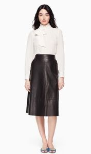 Kate Spade Pacey Lamb Leather A-line Skirt 12 NWT